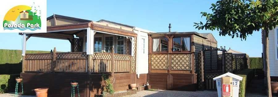 Mobile homes in Spain on a residential mobile home park. Resale mobile homes with decking