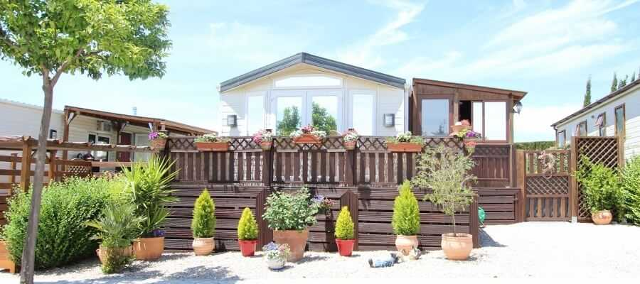 Mobile home in Spain decking area