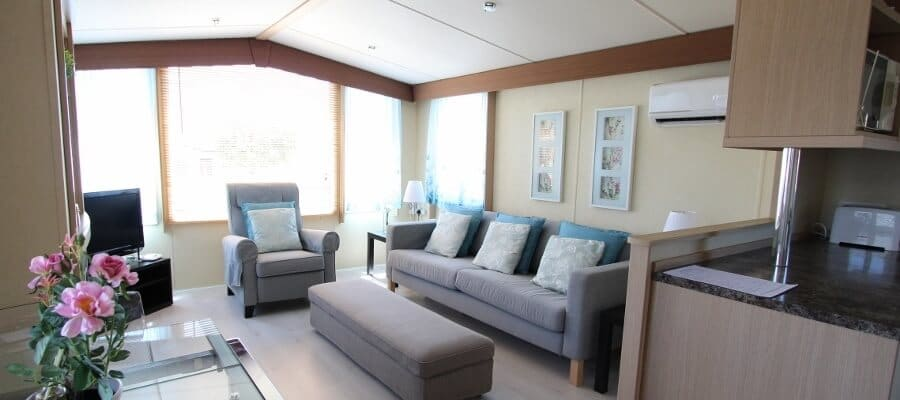 Inside the mobile home is modern