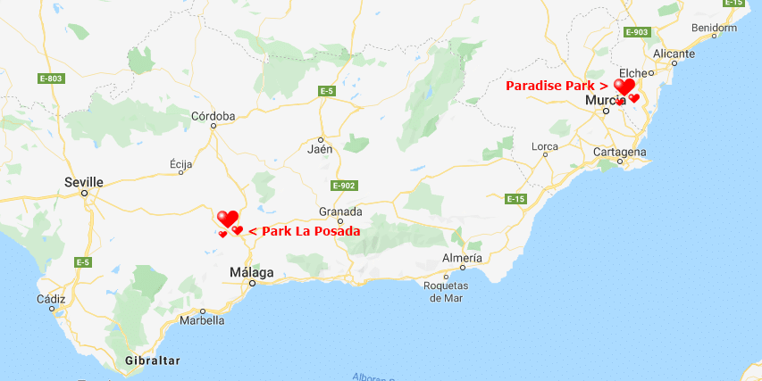 Residential parks in Spain location map
